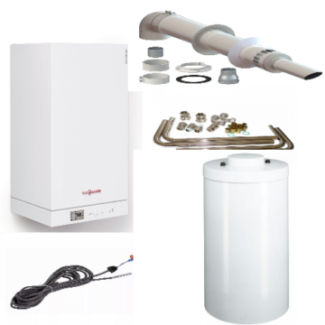Пакет  Vitopend 100-W A1HB003 34 кВт + Бойлер Vitocell 150-W CUG 150л + коаксиальнный дымоход A1HB014 (Пакетное предложение от Viessmann Виссманн)