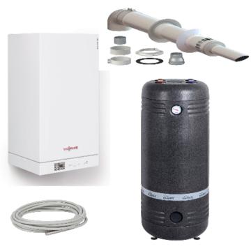 Комплект Vitopend 100-W 24 кВт закрытая камера +Бойлер 100 литров + коаксиальнный дымоход  (Пакетное предложение ) Гарантия качества