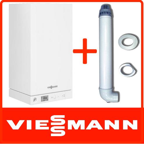 Viessmann Vitodens 100-W 4.7 — 26 кВт; Природный газ;+ дымоход.Турбированный; Двухконтурный;  Конденсационный котел  Пакетное предложение B1KC085